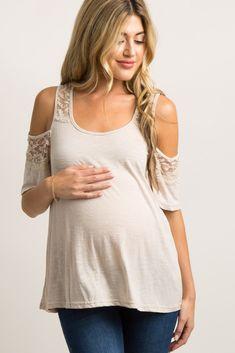 05003722453cfa Grey Ruffled Lace Neckline Short Sleeve Maternity Top