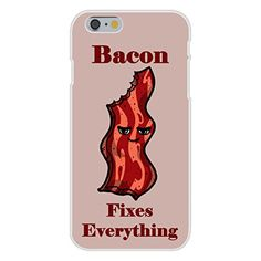 Apple iPhone 6 Custom Case White Plastic Snap On - 'Bacon Fixes Everything' Food Humor Cartoon
