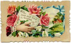 Victorian calling card, vintage ephemera, old fashioned card, floral digital graphics, free printable image