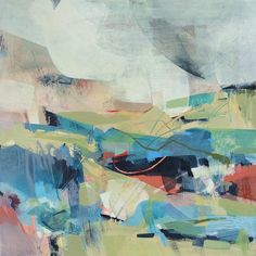 'Cloud Watching' abstract landscape painting by Alice Sheridan acrylic and drawing materials on wood, double framed
