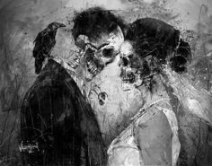 #skull #death #love #crow