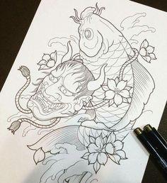 кДтё☆ρσℓє Japanese Drawings, Japanese Tattoo Art, Japanese Tattoo Designs, Japanese Sleeve Tattoos, Japanese Art, Koi Dragon Tattoo, Carp Tattoo, Koi Fish Tattoo, Hanya Mask Tattoo