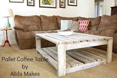 How to Whitewash a Pallet Coffee Table DIY   Alida Makes #palletcouchesinstructions