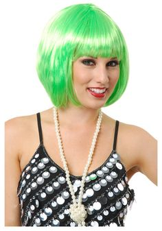 Short bob wig in lime green.  Have it, love it, give it four stars!  #irish #stpats