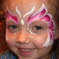 Butterfly Face Paint Design -- I like the idea of not getting the make-up so close to their eyes!