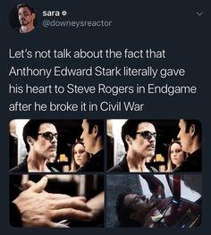 that hurt like a motherfucker Tony Stark Steve Rogers, Steve And Tony, Marvel Fan, Marvel Avengers, Marvel Comics, Avengers Memes, Marvel Memes, Marvel Cinematic Universe, Comics Universe
