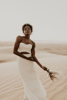Desert Sand Dune Wedding Inspiration with Natural Hair Ideas for Black Brides – Tor Hawley – The LAW Bridal 41 Go natural on your wedding day! Here's the inspiration you need! #bridalmusings #bmloves #wedding #weddinginspo #weddinginpiration #naturalhair #natural #curls #curly #naturalcurls #weddingdress #bridalgown #inspiration