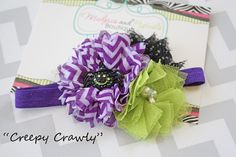 Halloween headband, Creepy Crawly, purple, lime, spider Halloween bow, Witch costume, purple chevron Headband baby girl photography prop