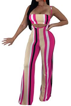 fbb0d0ddb6 JireH Women 2 Piece Outfits Colorful Striped Spaghetti Strap Crop Top and  Wide Leg Pants Jumpsuits Romper