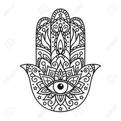 Illustration of Vector illustration. Black and white coloring with hamsa vector art, clipart and stock vectors. Hamsa Hand Tattoo, Hand Tattoos, Hamsa Art, Mandala Tattoo, Body Art Tattoos, Script Tattoos, Arabic Tattoos, Flower Tattoos, Hamsa Design