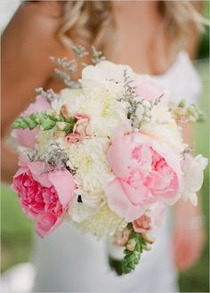 Pink wedding bouquet, Love the peonies