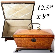 Large Antique 1700s French Jewelry Chest, Sewing Box, Empire Lemon Wood Coffret