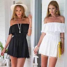 2016 fashion sexy women boho summer off shoulder tassel strapless emipire casual beach dress mini dress Boho Summer Dresses, Beach Dresses, Sexy Dresses, Summer Outfits, Summer Ootd, Ladies Dresses, Dress Beach, Elegant Dresses, Pretty Dresses