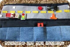 "Cozy Matchbox Car Caddy Mat: DIY tutorial from ""Homemade by Jill"", (via Six Sisters' Stuff). Matchbox Autos, Matchbox Cars, Six Sisters, Car Carrier, Operation Christmas Child, Car Mats, Car Holder, Busy Bags, Sewing Toys"
