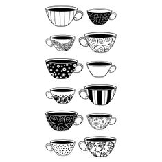 Coffee Cup Stamp Set | StickyTiger Craft Supplies Patternd Coffee Cups Clear Stamp Set