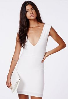 Babara Textured V-Neck Mini Dress - Mini Dresses - Missguided