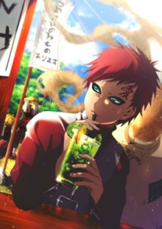 Gaara of the Desert casually drinking his smoothie Anime: Naruto Naruto Uzumaki, Anime Naruto, Gara Naruto, Naruto Fan Art, Shikamaru, Kakashi, Manga Anime, Akatsuki, Otaku
