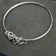 Sterling Silver Bangle Heart Charm Bracelet Besos