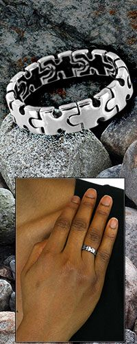 Linked Together Autism Awareness Sterling Ring - Every purchase helps fund research and therapy for children with autism!