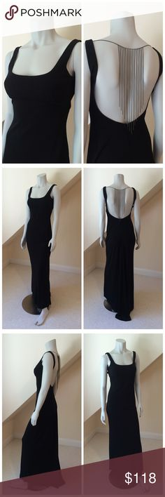 NWT BCBGMaxAzria Formal Gown NWT BCBGMaxAzria Formal Gown...dramatic in its simplicity...wide strap scoop neck gown with body conscious fit and slight mermaid hem...dramatic low cut back with attached chevron chain...back zipper with hook/eye closure. Retail $298 BCBGMaxAzria Dresses Maxi