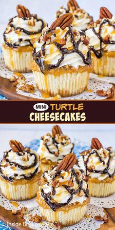 Turtle Cheesecake Recipes, Homemade Cheesecake, Cheesecake Desserts, Homemade Snickers, Cheesecake Cupcakes Recipe Easy, Chocolate Cheesecake Cupcakes, Mini Cheesecake Cupcakes, Cheesecake Strawberries, Caramel Cheesecake