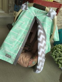 Infant Carseat Canopy UNISEX mint arrow with by SooShabbyChic