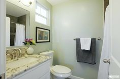 Kraft bathroom remodel and #realestate staging. Light mint walls, pretty marbled sink counter top.  The grey towel compliments the dark grey tiled shower as seen in the mirror. Nice! #veronohomes #sunlight #home