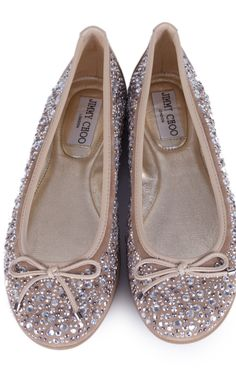 Jimmy Choo Tan and Silver Crystal Encrusted Ballet Flats