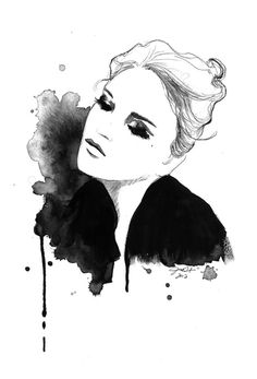 Lush- Jessica Durrant. The woman is captured beautifully and works successfully without any colour. Her garments contrast strongly with her face and her hair and cohesively work very well with one another. The drips also add an uncontrolled look to this illustration.