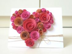 Handmade Heartshape spiral flower card Be it for Valentine, Mother Day, Birthday to your loved ones