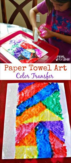 You wouldn't believe how easy it is to create beautiful eye catching paper towel art for kids! #QuickerPickerUpper #spon