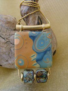 Tidepool - Mokume Gane & Glass Bead Pendant by julie_picarello, via Flickr