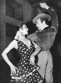 Photograph:José Greco rehearses a flamenco dance with Lola de Ronda.
