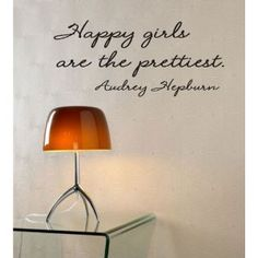 Happy girls are the prettiest Audrey Hepburn (Vinyl wall art Inspirational quotes and saying home decor decal sticker)