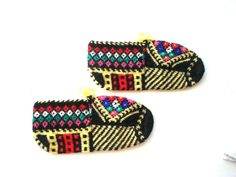 hand knit slippers, ethnic womens slippers, authentic, Colorful Handmade Traditional Anatolia Socks / Turkish Slippers easter gift ideas