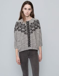 Pull&Bear - woman - sweatshirts - ethnic printed sweatshirt - medium grey - 09592319-I2015