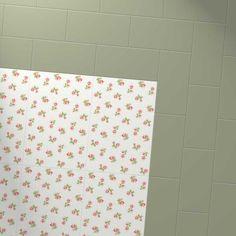 Harvey Maria Little Bricks luxury vinyl tiles in Apple Green, creating a border around the Cath Kidston white roses floor