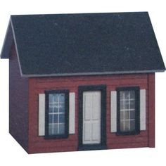 Real Good Toys Keeper's House Dollhouse Kit - 1/2 Inch Scale. Dimensions: 9.75W x 7D x 8.5H in. New England-style design in red and white. Recommended for ages 12 and up. 2-story design with 2 rooms and unique ladder. Crafted from durable MDF with clapboard.