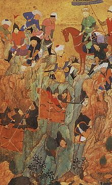 Emir Timur's army attacks the survivors of the town of Nerges, in Georgia, in the spring of 1396.