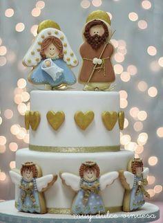 """"""" MUY DULCE """" MARIAPI Y MERCEDES GARCIA DE VINUESA GALLETAS DECORADAS; Nativity Cake with CUTE Angels"""