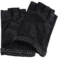 Karl Lagerfeld K/Chain Gloves (200 BAM) ❤ liked on Polyvore featuring accessories, gloves, natural, chain gloves, black gloves, black biker gloves, black fingerless gloves and polka dot gloves