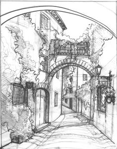 A deserted street scape which employs the use of very bold, accentuated detail l. A deserted street scape which employs the use of very bold, accentuated detail lines, with comparably light hatching application (Pinned form zersen. Sketch Painting, Drawing Sketches, Art Drawings, Drawings Of Buildings, Pen Sketch, Drawing Ideas, Landscape Sketch, Landscape Drawings, Drawing Landscapes Pencil