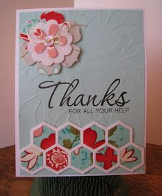 Cards, Quilts and Kittys: Papertrey Make-It-Monday #79: Fabric Die Cuts  Thanks All Ways Happy Hexagons Beautiful Blooms