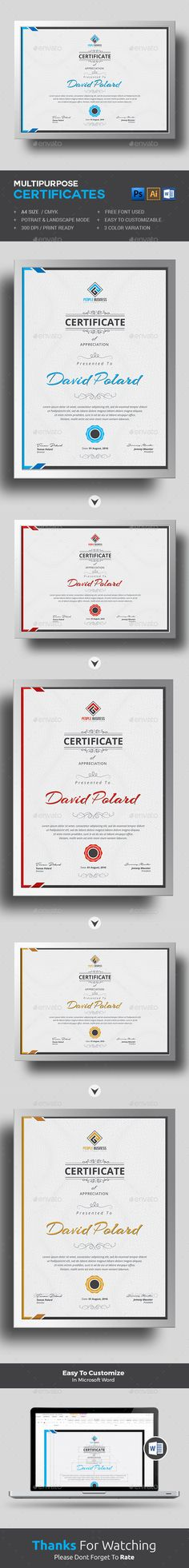 Multipurpose Certificates | Training, Wells And Certificate Templates