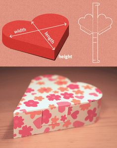 Completely custom sized template for a Heart Shaped Box  This website makes all sorts of box designs. So pretty. The svg might need size adjustment and the pdf might need to have lines added.