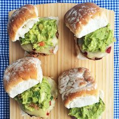 MexiCali Turkey Sliders -- 5 fresh takes on the classic slider! Homemade Sliders, Fresh Guacamole, Thanksgiving Dinner Recipes, Slider Recipes, Lunches And Dinners, Quick Easy Meals, Great Recipes, Cooking Recipes, Snack Recipes