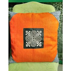 """Ethnic Hmong Embroidered Organic Hemp Eco Friendly Pillow Case 18"""" x 18"""" Pieces Of Tribal Costume, Cozy pillowcase, Orange Pillow Case Orange Pillow Cases, Orange Pillows, Silk Blanket, Tribal Costume, Decorative Pillow Cases, Vintage Textiles, Cotton Pillow, New Baby Gifts, Hemp"""