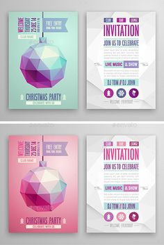 Christmas flyer geometric style, 2 color variants. This is 100 vector illustration. You can edit and scale it to any size. Included: Well grouped eps (10 version) ai (CS4) Text isn`t editable, fonts are not included.