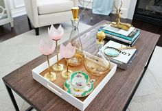 coffee table styling glass candle holders - Google Search