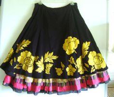 Anthropoloie San Telmo Skirt Lithe Floral Layered Corduroy Embroidered Size 6 #Lithe #PeasantBoho
